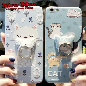 iPhoneX ケース iPhoneXs iPhone8 8Plus iPhone7 7Plus かわいい スマホリングとケース セット アート 猫 アジアン sc0007 mowmow0731