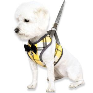犬 ハーネス 小型犬 中型犬 おしゃれ リードとハーネス二点セット ストライプ 犬服 胴輪  ◇リー...