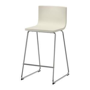 IKEA イケア BERNHARD バースツール 背もたれ付き クロムメッキ カヴァト ホワイト (602.726.58)|mpee