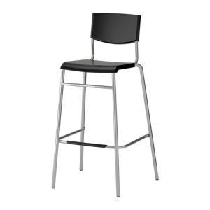 IKEA イケア STIG バースツール 背もたれ付き ブラック シルバーカラー (901.615.26)|mpee