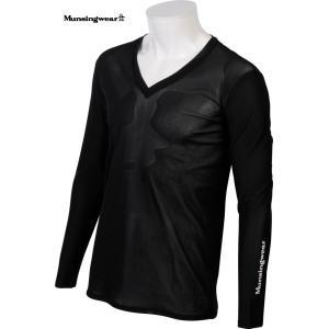 マンシングウェア メンズ  Vネック デオダッシュ 長袖インナーシャツ ブラック 2016春夏物 GGA1035N100|mps