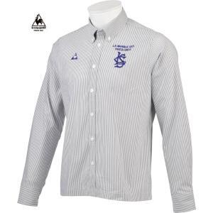 ルコックゴルフ メンズ 綿混長袖シャツ ネイビー系ストライプ  2016秋冬物 QG1049M193|mps