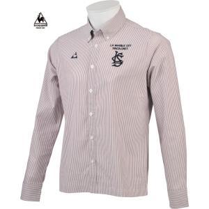 ルコックゴルフ メンズ 綿混長袖シャツ レッド系ストライプ  2016秋冬物 QG1049W225|mps
