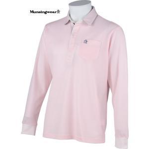 マンシングウェア メンズ 綿混 長袖ポロシャツ ピンク 2015春夏物 SG1283W814 mps
