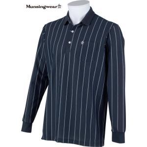 マンシングウェア メンズ 綿混 長袖ポロシャツ ネイビー系ストライプ 2015春夏物 SG1286M133 mps