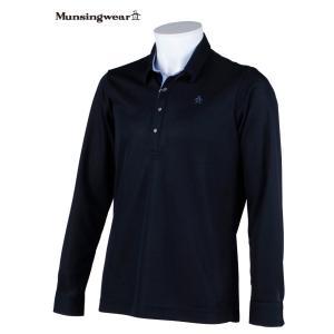 マンシングウェア メンズ 長袖台衿付シャツ ネイビー Mサイズ 2015春夏物 SG1292M133 mps