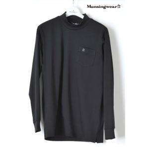 マンシングウェア メンズ 長袖 ハイネックシャツ【日本製】 無地 ブラック SG1400N100|mps