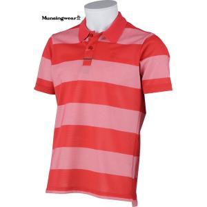 マンシングウェア メンズ 半袖ポロシャツ レッド系ボーダー Mサイズ 2015春夏物 SG1769R428 mps