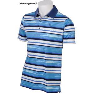 マンシングウェア メンズ スイスコットン 綿100%半袖ポロシャツ ブルー系ボーダー 2016春夏物 SG1813B524|mps