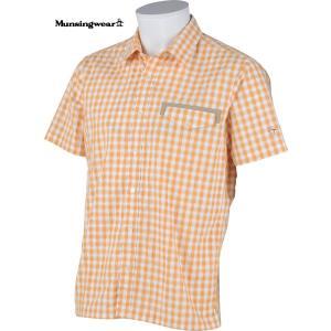 マンシングウェア メンズ サンスクリーン半袖布帛シャツ オレンジ系チェック 2015春夏物 SG3521A729|mps