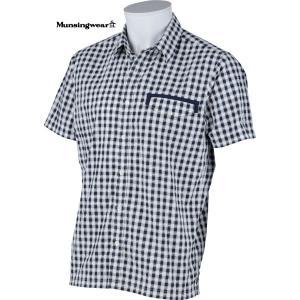 マンシングウェア メンズ サンスクリーン半袖布帛シャツ ネイビー系チェック 2015春夏物 SG3521M133|mps
