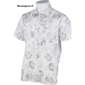 マンシングウェア メンズ 綿100%半袖布帛シャツ オフホワイト花柄 2015春夏物 SG3522N921|mps