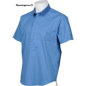 マンシングウェア メンズ 半袖布帛シャツ ブルー 2016春夏物 SG3524B406|mps