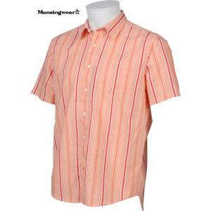 マンシングウェア メンズ 綿麻混半袖布帛シャツ オレンジ系ストライプ 2016春夏物 SG3525A737|mps