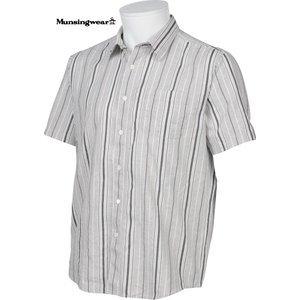 マンシングウェア メンズ 綿麻混半袖布帛シャツ グレー系ストライプ 2016春夏物 SG3525N682|mps