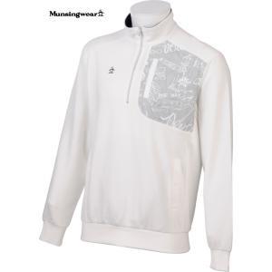 マンシングウェア メンズ  ハーフジップ綿タイプ 長袖カットソー オフホワイト 2016春夏物 SG5572N921|mps