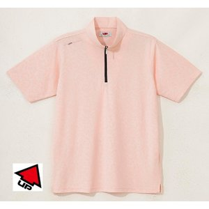 UP GOLF メンズ半袖ジップハイネックシャツ 接触涼感 ライトオレンジ 2015春夏物 UPG5004LOR|mps