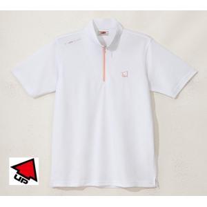 UP GOLF メンズ半袖ジップハイネックシャツ 接触涼感 ホワイト 2015春夏物 UPG5005WHT|mps
