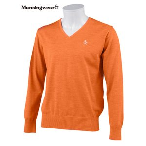 マンシングウェア メンズ ONE THING 【日本製品】 Vネックセーター オレンジ 2016秋冬物 XSG4300A459|mps