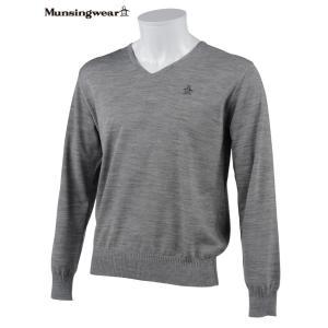 マンシングウェア メンズ ONE THING 【日本製品】 Vネックセーター グレー杢 2016秋冬物 XSG4300N450|mps