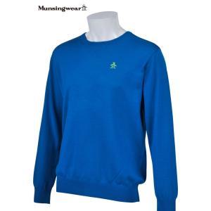 マンシングウェア メンズ ONE THING 【日本製品】 クルーネック セーター ブルー 2016秋冬物 XSG4301B449|mps