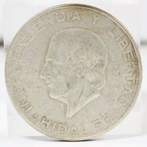 メキシコ 5PESO 銀貨 横顔 AU 古銭 コイン