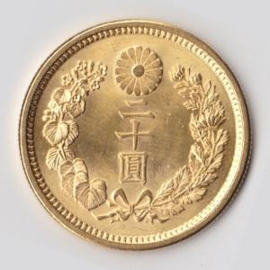 新20円金貨 大正6年 未使用 日本貨幣商協同組合鑑定書付です。