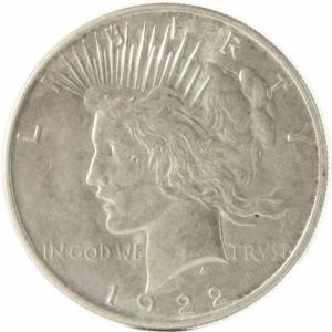 アメリカ 1ドル PEACE 銀貨 1922年 VFです。