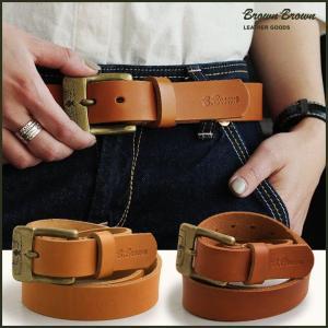 ベルト レザー カウレザー 牛革 革 本革 真鍮 スタンプバックル BBL-0161  (ブラウンブラウン) BrownBrown  レディース メンズ|mr-lunberjack