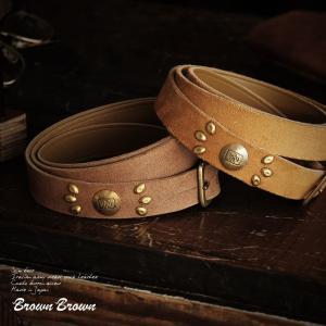 (ブラウンブラウン) BrownBrown スリム ベルト  イタリア軍 デッドストックレザー 日本製  レディース メンズ|mr-lunberjack