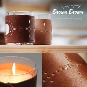 (ブラウンブラウン) BrownBrown キャンドルホルダー ヌメ革カバー付き 春 夏   メンズ mr-lunberjack