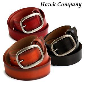HAWK COMPANY レザー ベルト グラデーション ソフト カウレザー バックル 取り外し 調整可能  メンズ レディース|mr-lunberjack