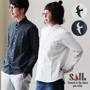 SAIL シャツ 長袖 レギュラーカラー 日本製 綿麻 コットン リネン キャンバス ワンポイント 鳥 つばめ 刺繍 メンズ|mr-lunberjack