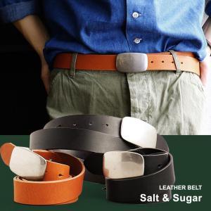 ベルト ピンホール バックル デザイン 厚手 牛革 (ソルトアンドシュガー) Salt&Sugar   メンズ|mr-lunberjack