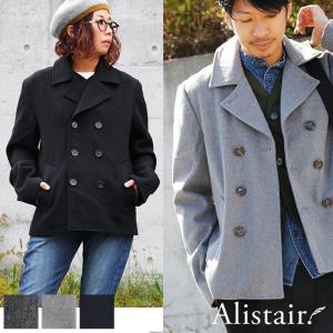 Pコート ジャケット コート ダブル 「メルトン」 定番 裏地付き アウター 防寒 軽量 (アリステア) ALISTAIR   メンズ mr-lunberjack