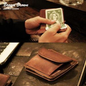 マネークリップ 小銭入れ レザー 革 本革 財布 ウォレット 手縫い ハンドメイド カードポケット  (ブラウンブラウン) BrownBrown 40代 50代|mr-lunberjack
