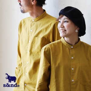 シャツ 長袖 バンドカラー 麻綿 配色 ワンポイント カバ 刺繍  通気性 速乾性 型崩れしにくい メンズ  s&nd|mr-lunberjack
