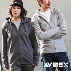 AVIREX パーカー 長袖 ジップパーカー ジップアップ リブ編み スパンフライス 「袖 プリント」 無地 メンズ レディース|mr-lunberjack