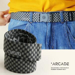 ベルト ゴム ラバー ゴムベルト ラバーベルト フリーサイズ ストレッチ  PRONTO 40 市松模様  (アーケード) ARCADE  メンズ|mr-lunberjack
