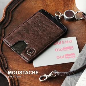 MOUSTACHE ムスタッシュ パスケース カードケース カード 本革 ゴート革 レザー 山羊革 リール付|mr-lunberjack