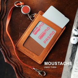 MOUSTACHE ムスタッシュ パスケース カードケース カード 定期 ICカード 本革 ゴート革 レザー 山羊革 リール付|mr-lunberjack