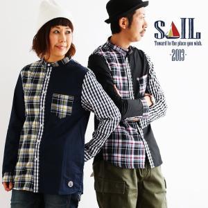 長袖 シャツ バンドカラー クレイジー チェック 胸ポケット 綿100% SAIL  メンズ|mr-lunberjack