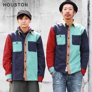 HOUSTON ビエラシャツ ワークシャツ レギュラーカラー 長袖 コットン クレイジーパターン アメカジ カジュアル メンズ  L M マルチカラー|mr-lunberjack