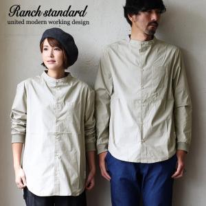 Ranch standard シャツ バンドカラー スタンドカラー 無地 長袖 コットン 家庭洗濯 カジュアル メンズ   L M ベージュ グレー|mr-lunberjack
