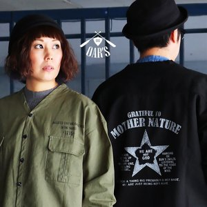 OAR'S ジャケット シャツジャケット シャツ カーディガン ノーカラー 薄ハリ コットンツイル バック 星 スター プリント|mr-lunberjack