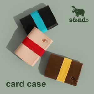 s&nd カード名刺入れ カードケース 配色ゴムバンド 本革 カウレザー シンプル カジュアル  メンズ 春 mr-lunberjack