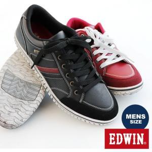 EDWIN スニーカー 屋内屋外兼用 レースアップ 軽量 合成皮革 ラウンドトゥ メンズ 27.0 26.0 カジュアル|mr-lunberjack