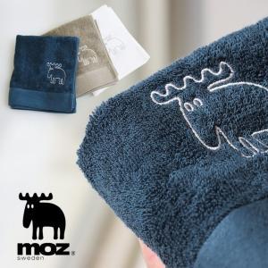 moz ハンドタオル ヘラジカ ワンポイント 刺繍 1枚 パイル コットン 角型 中厚 日本  メンズ レディース (メール便25)(ノベルティ対象) mr-lunberjack