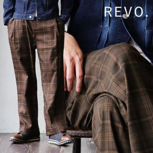 Revo ワイドパンツ スラックス チノパン ビッグチェック タータンチェック トラッド カジュアル ワンタック メンズ レディース|mr-lunberjack