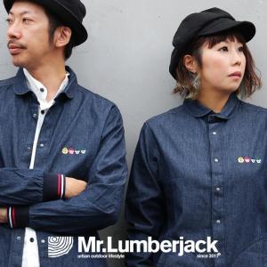 シャツ 長袖 CPO 丸襟 袖ラインリブ 切り替え 綿100% デニム マスクマン 刺繍 ポケット 刻印 メンズ   Mr.Lumberjack|mr-lunberjack
